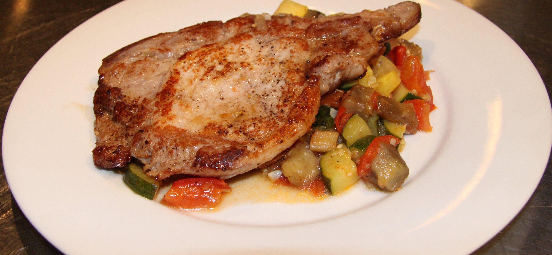 ratatouille with sauteed pork chops
