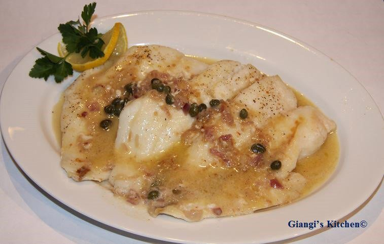 orange roughy with capers, shallots and wine butter sauce