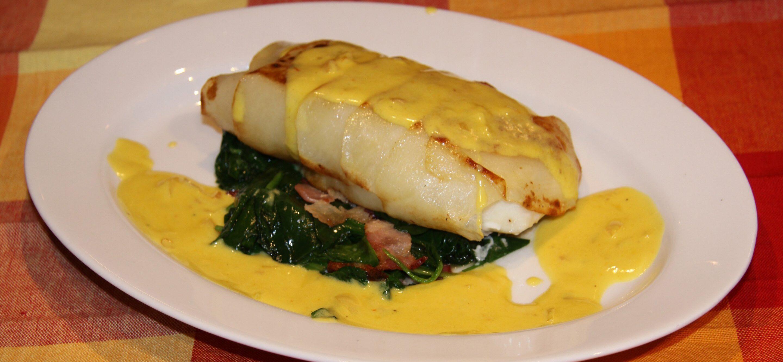 potoates crusted sea bass with saffron sauce