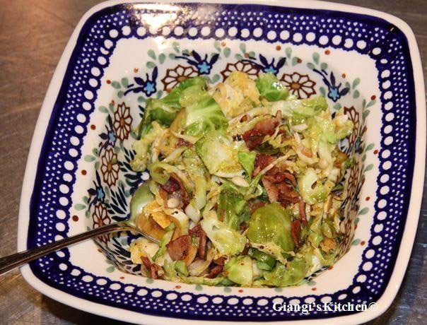 brusses sprouts with bacon and garlic
