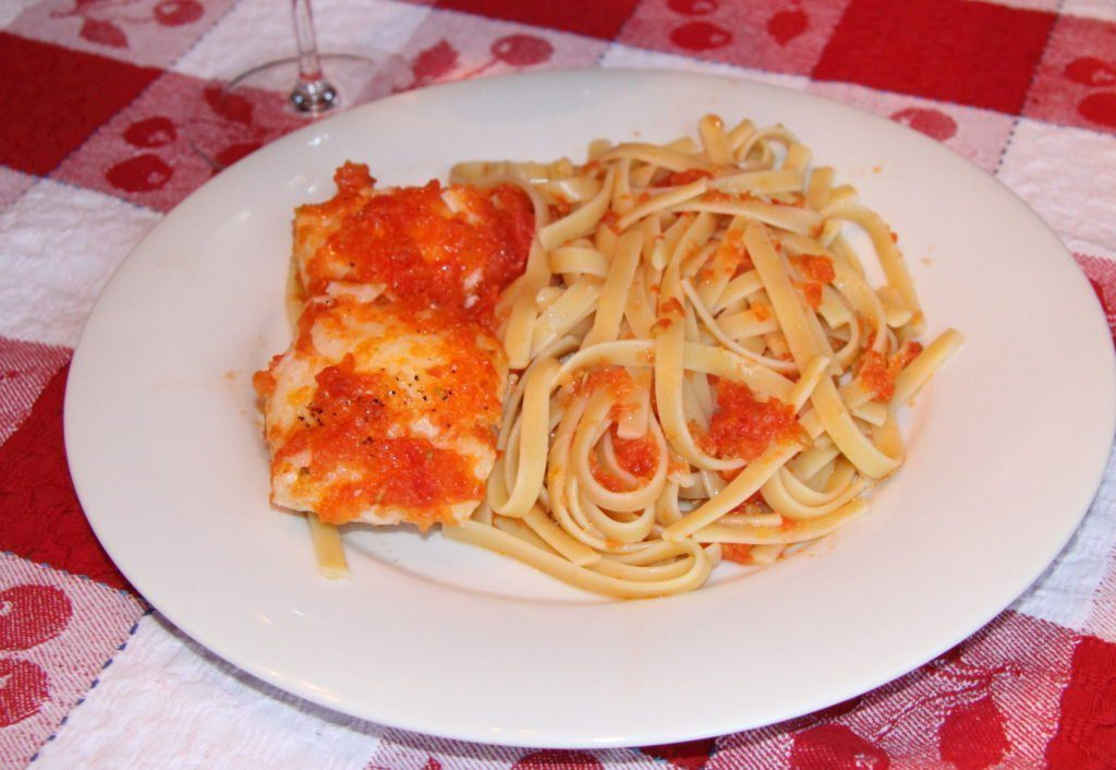 Chilean Sea Bass with Tomates Sauce and Fettuccine