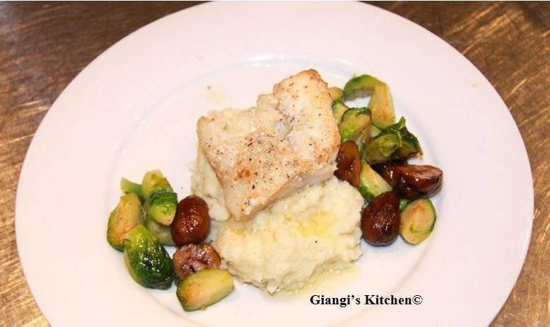 wine steamed cod with caulifloer potato mash and chestnut brussels sprouts