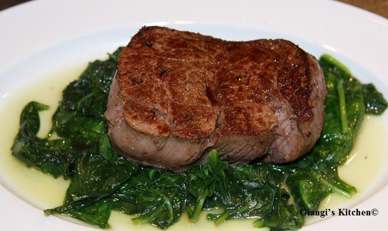 fillets mignon with butter sauteed spinach