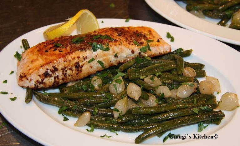 green beans with pearl onion and salmon