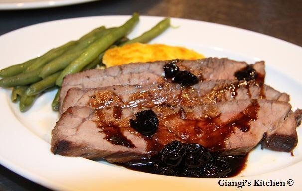 London broil with balsamic honey sauce