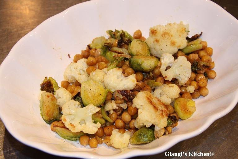 Brussels sprouts, cauliflower and chickpeas