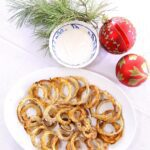 Oven baked onion rings with cumin dipping sauce