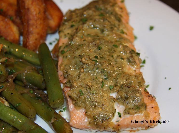 Slow roasted salmon with mustard parsley glaze