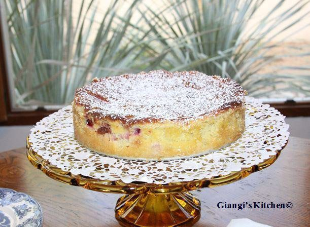 almond plum cake with creme fraiche