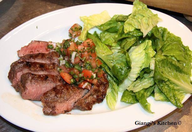 Flank steak with herbed salsa