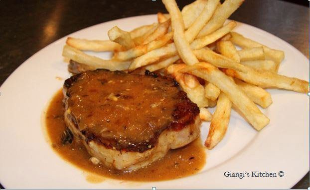 pork chops with beer, mustard gravy sauce