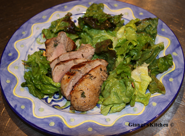 pork tenderloin with green salad