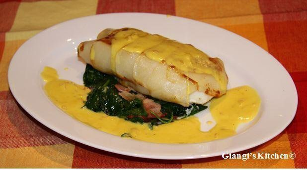 potatoes crusted sea bass with saffron sauce