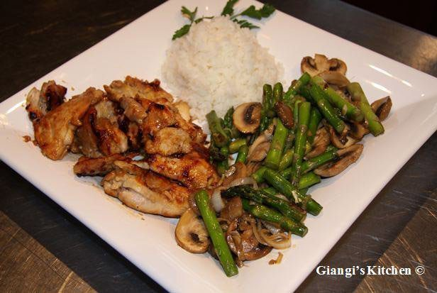 asparagus stir-fry with ginger mushrooms