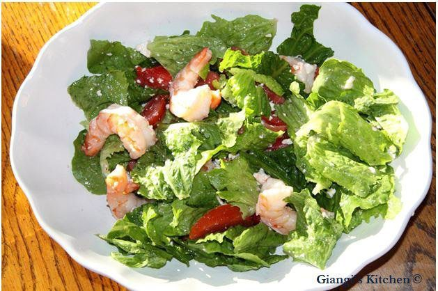 salad with prawns, feta cheese and tomatoes
