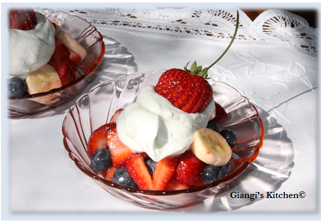 fresh fruits with chantilly