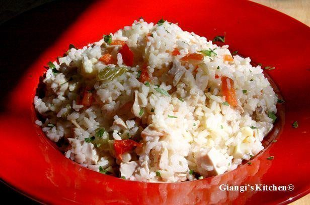 rice salad and chicken