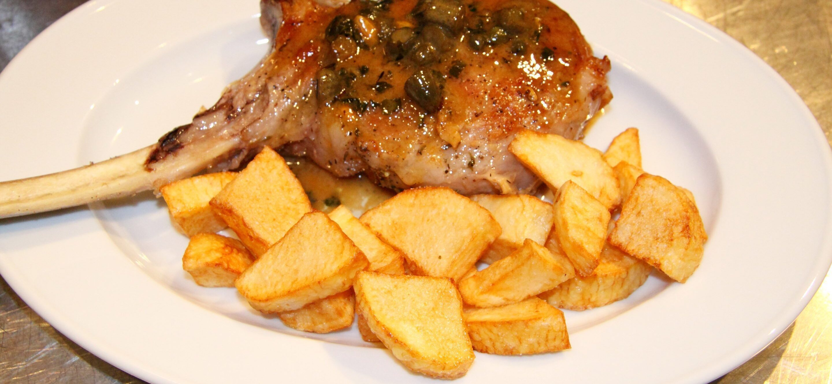 veal chops with capers and cornichons