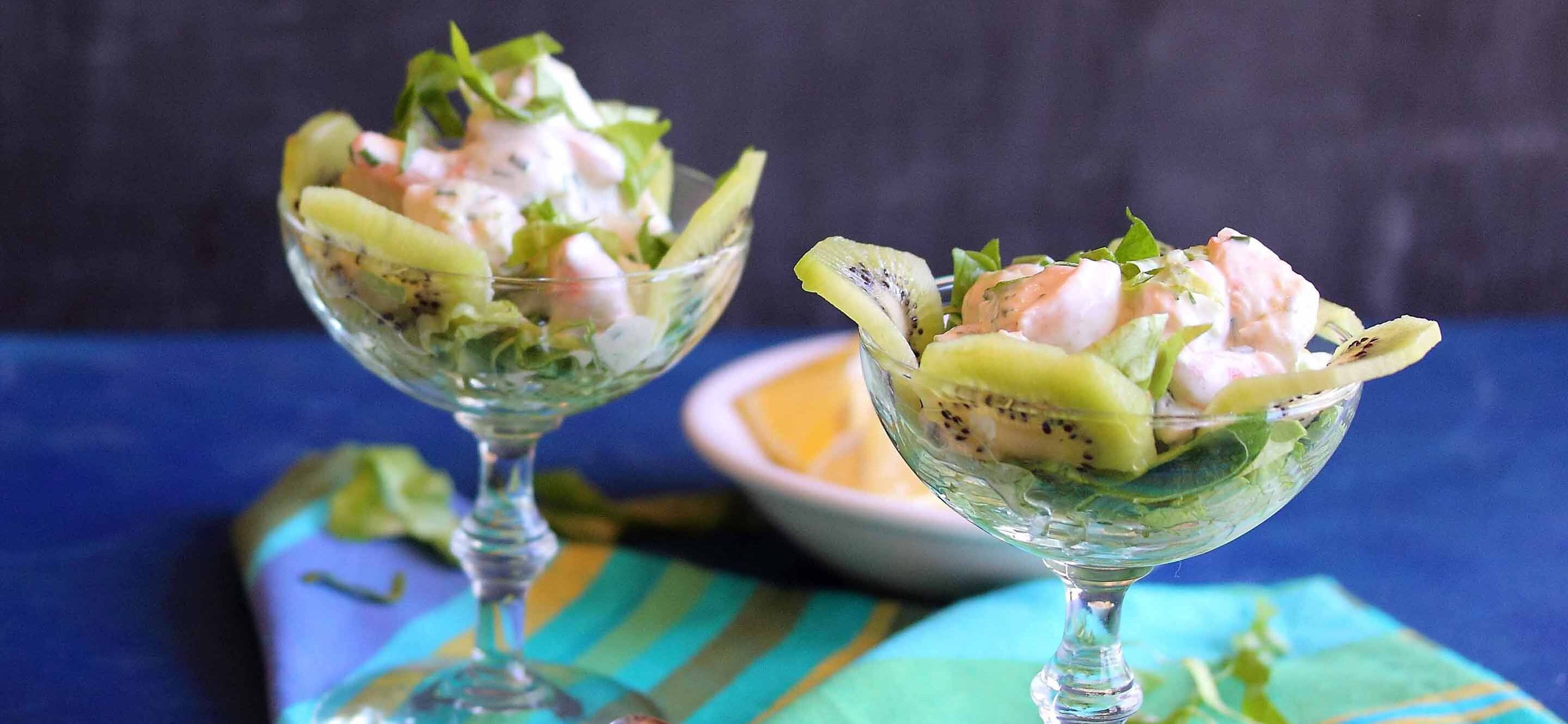 prawns cocktail with kiwi