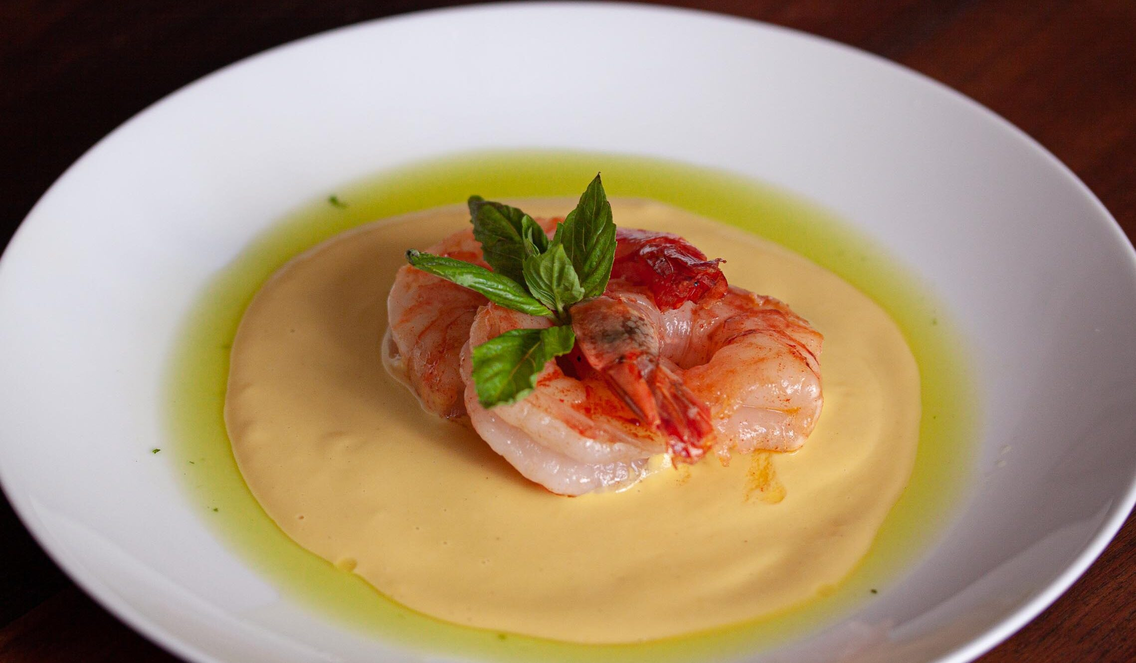 corn puree with prawns