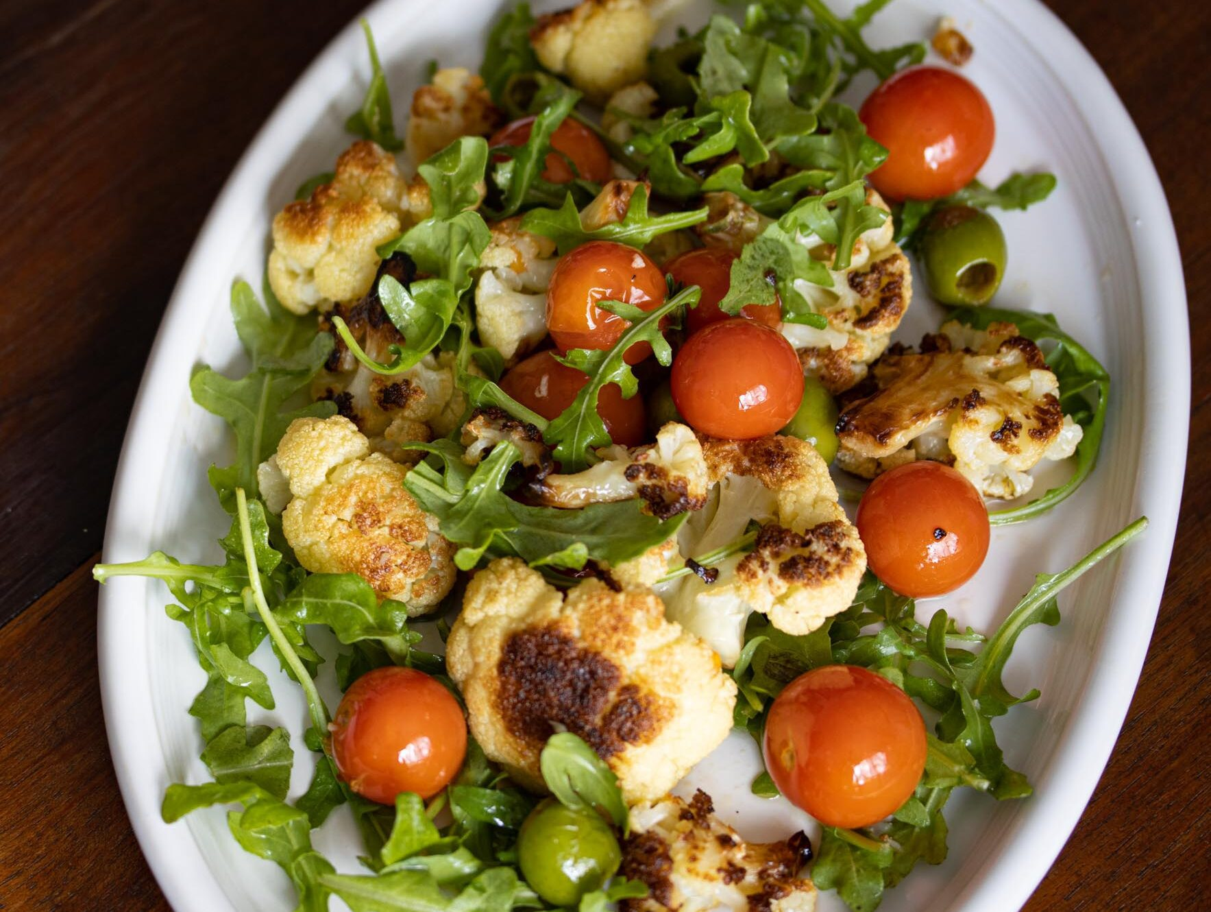 cauliflower with olives and cherry tomatoes