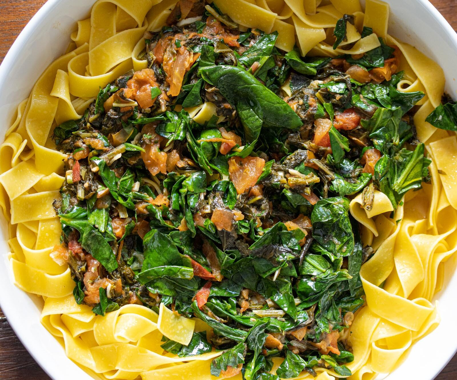 tomato, chard, kale, spinach pappardelle