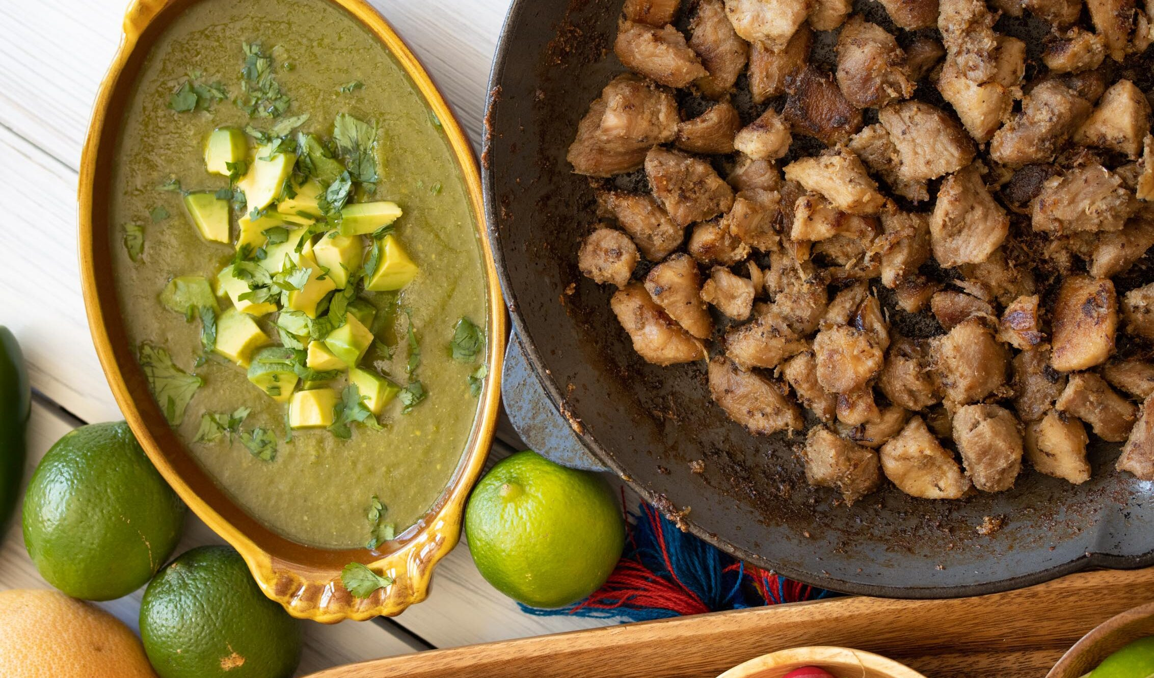 carnitas tacos with tomatillo sauce with avocado