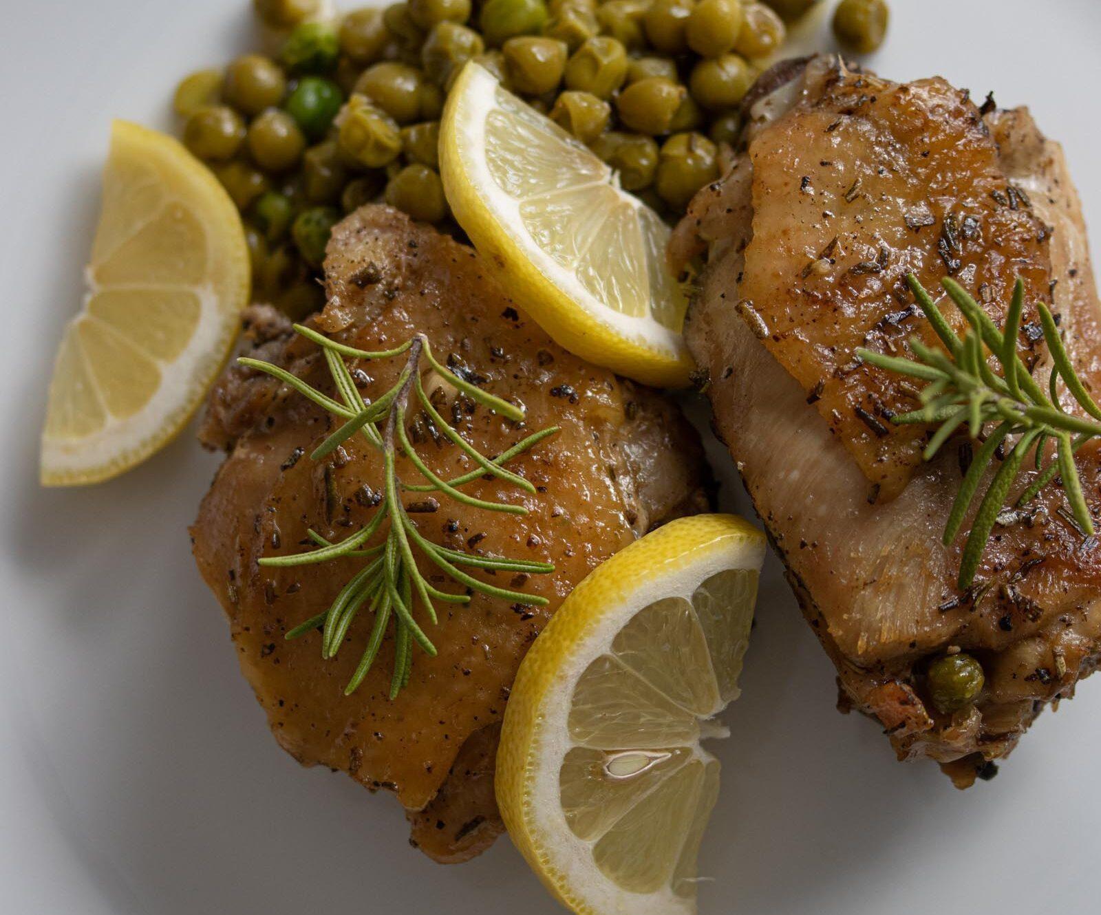rosemary, peas, lemon chicken