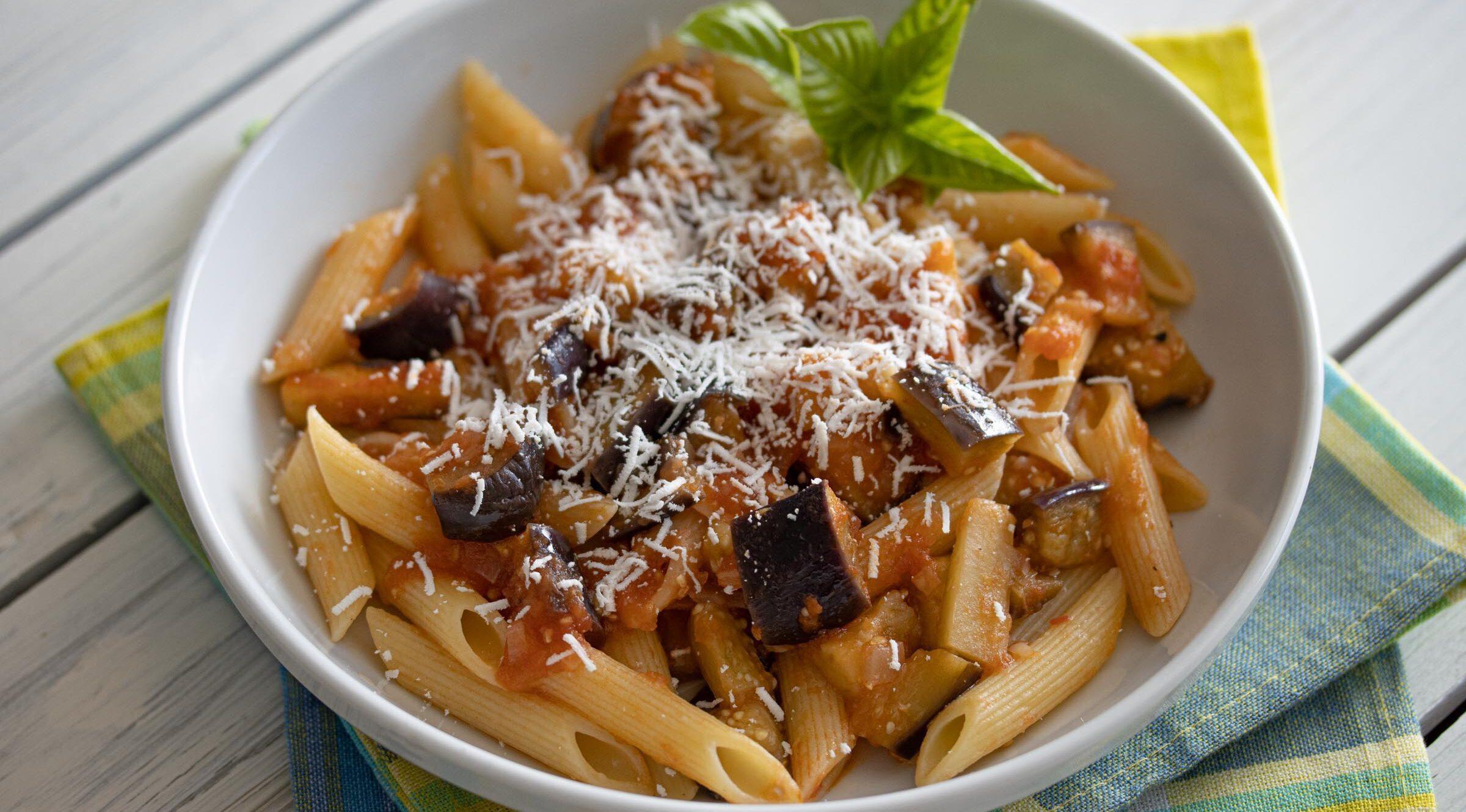 eggplant, pasta and ricotta salata