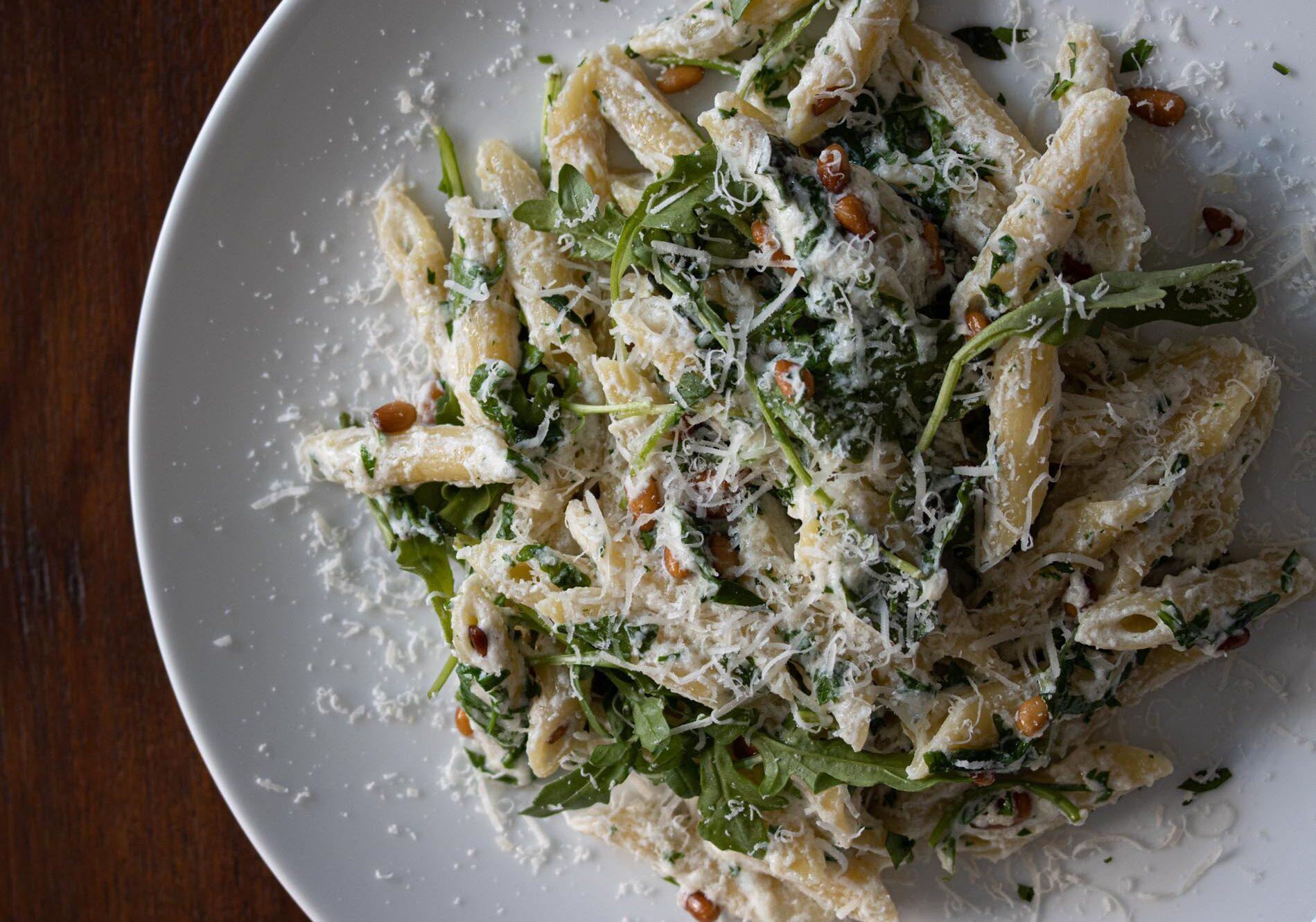 ricotta, arugula, pine nuts penne pasta