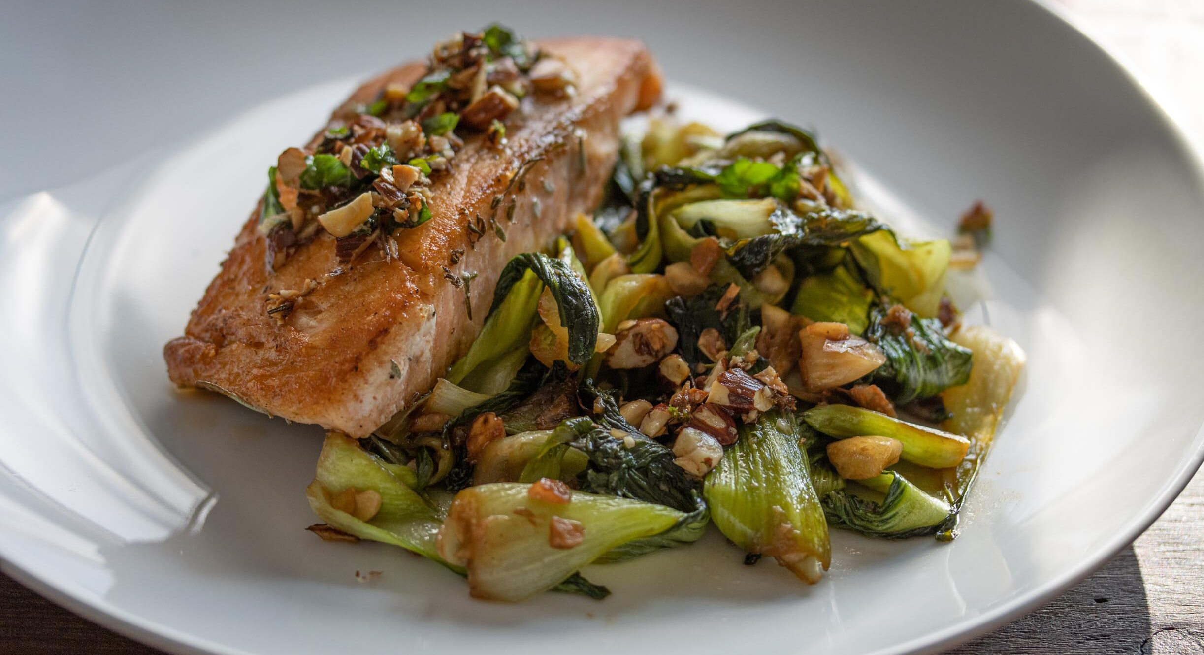 Salmon with steamed bok choy and almond
