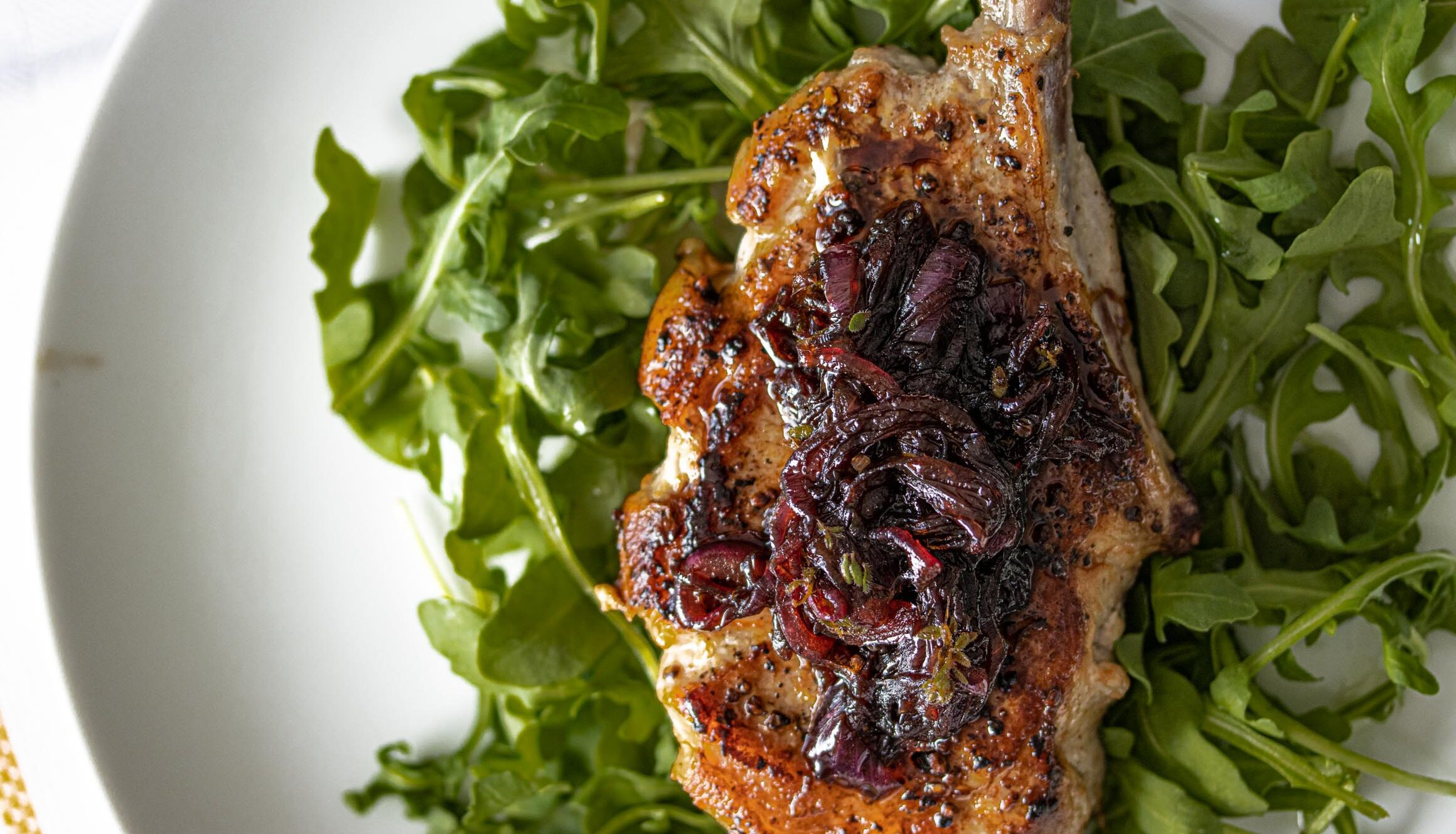 Pork chops with balsamic caramelized onions