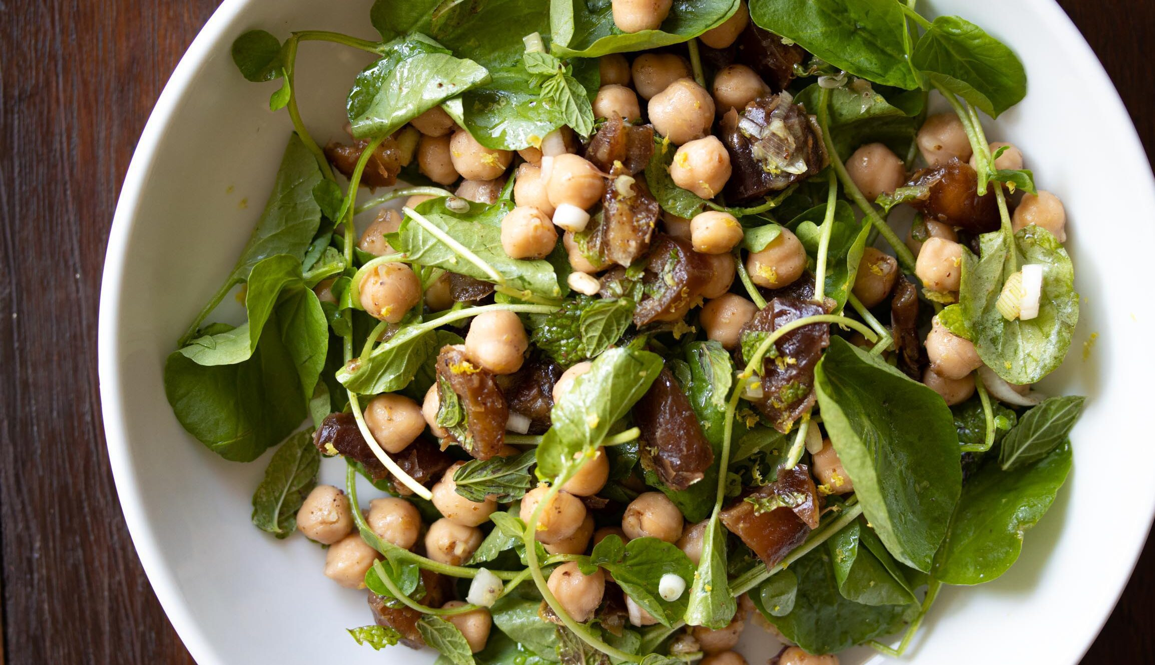 cresson, garbanzo beans, dates salad