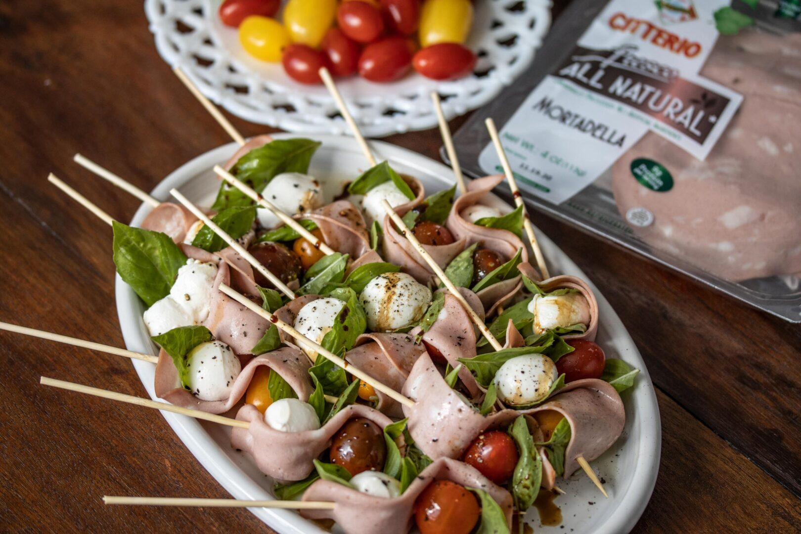 mortadella caprese sticks