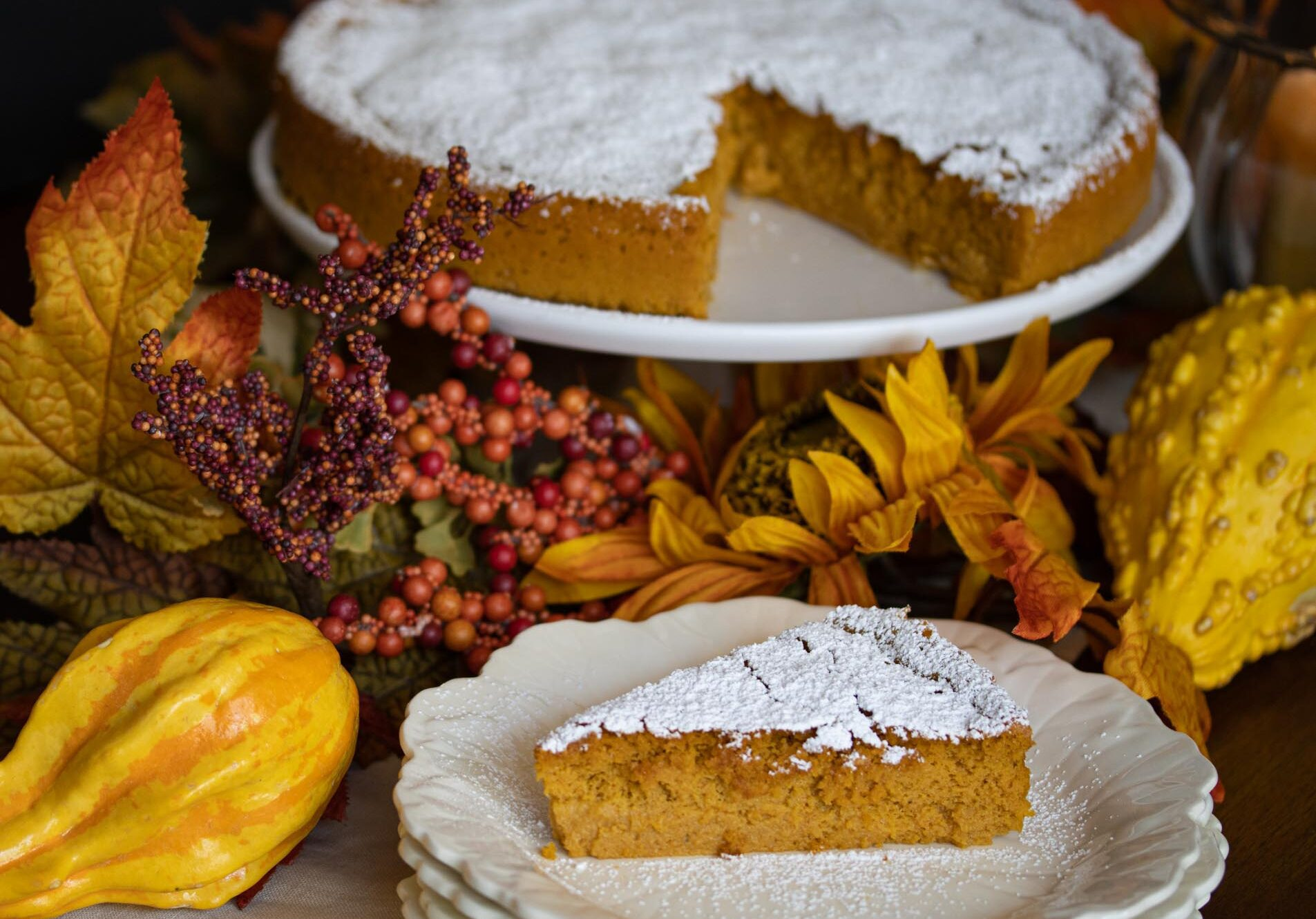 pumpkin-white chocolate souffle cake